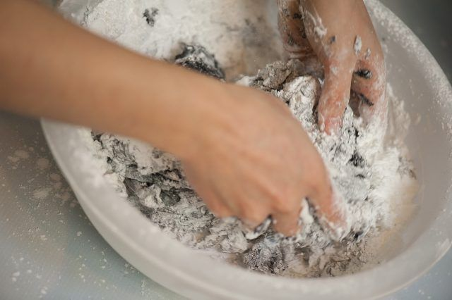 add fondant into bowl with powdered sugar bowl