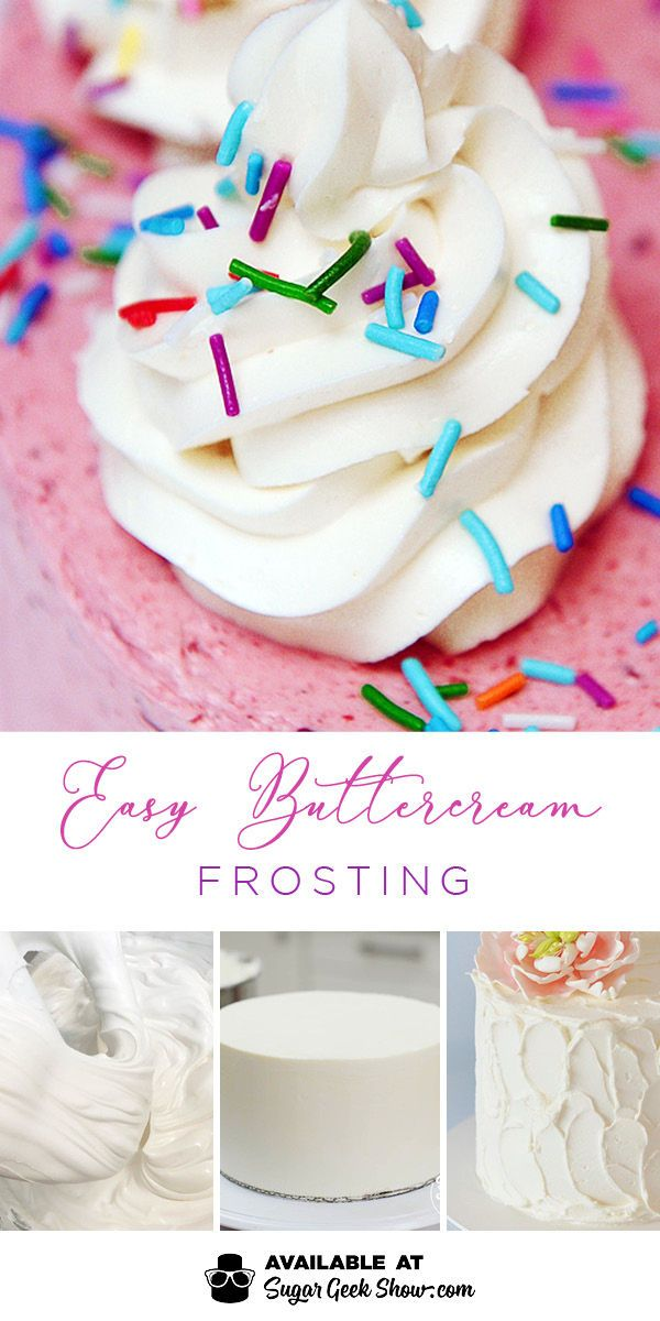 The easiest buttercream frosting ever! Made with pasteurized egg whites, sugar and vanilla! Whips up to the creamiest, not too sweet buttercream frosting you've ever had! You'll never need another buttercream recipe