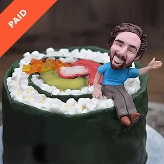 Giant Sushi and Bobblehead Cake
