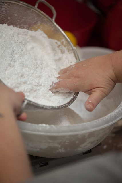 Sift powdered sugar and set aside in another bowl