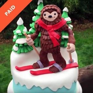 Skiing Sasquatch Cake