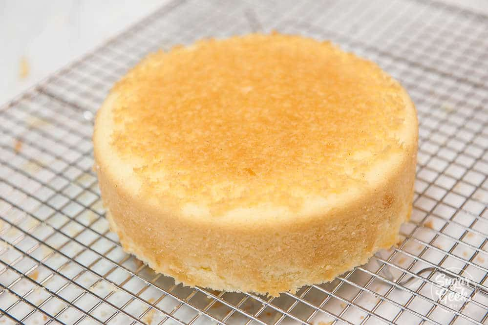 vanilla cake on a cooling rack