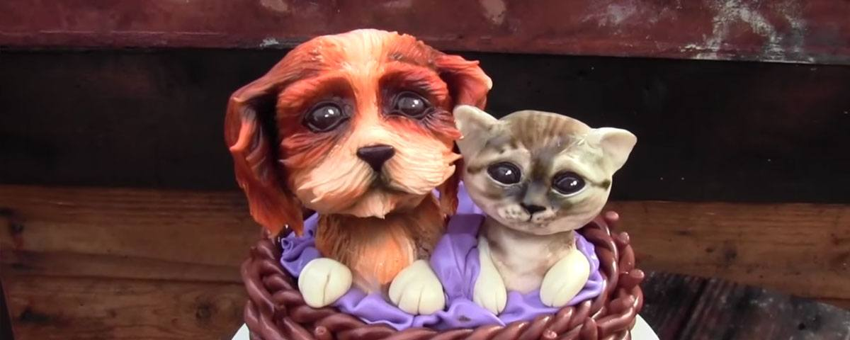 Basket cake with kitten topper and puppy topper tutorial