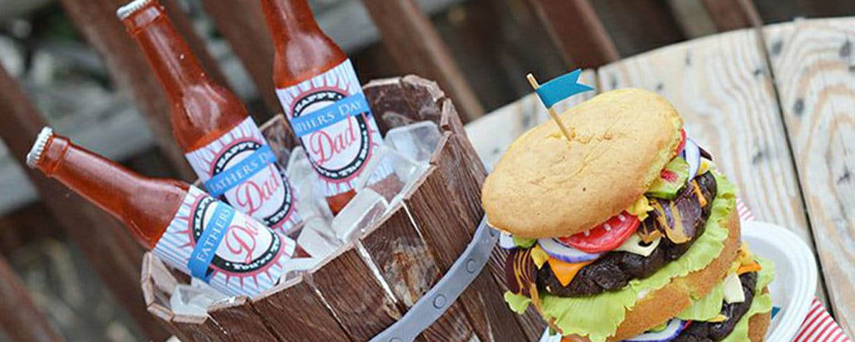 beer bottle cake tutorial with edible sugar bottles, sugar ice cubes and a realistic edible wooden barrel along with a hamburger made out of cake