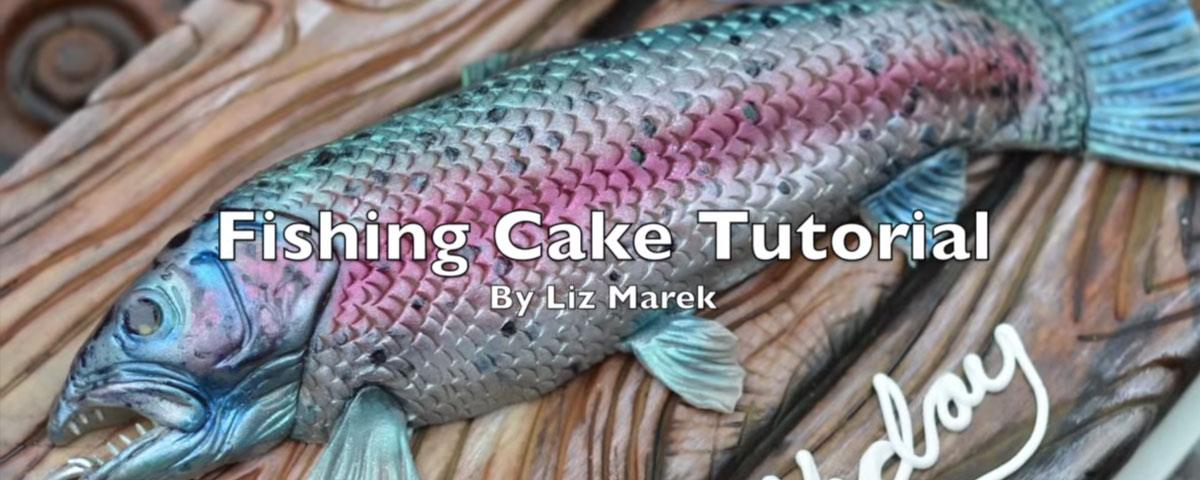 Fishing Cake Tutorial with edible cutting board and fish made out of fondant tutorial