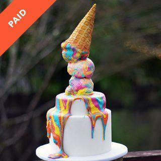 melting rainbow cake tutorial