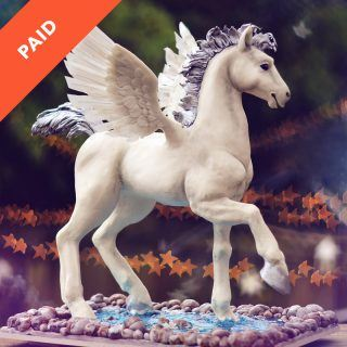 Baby Pegasus Cake Tutorial with Feather Wings Purple Mane and Reflective Isomalt Water with Rocks