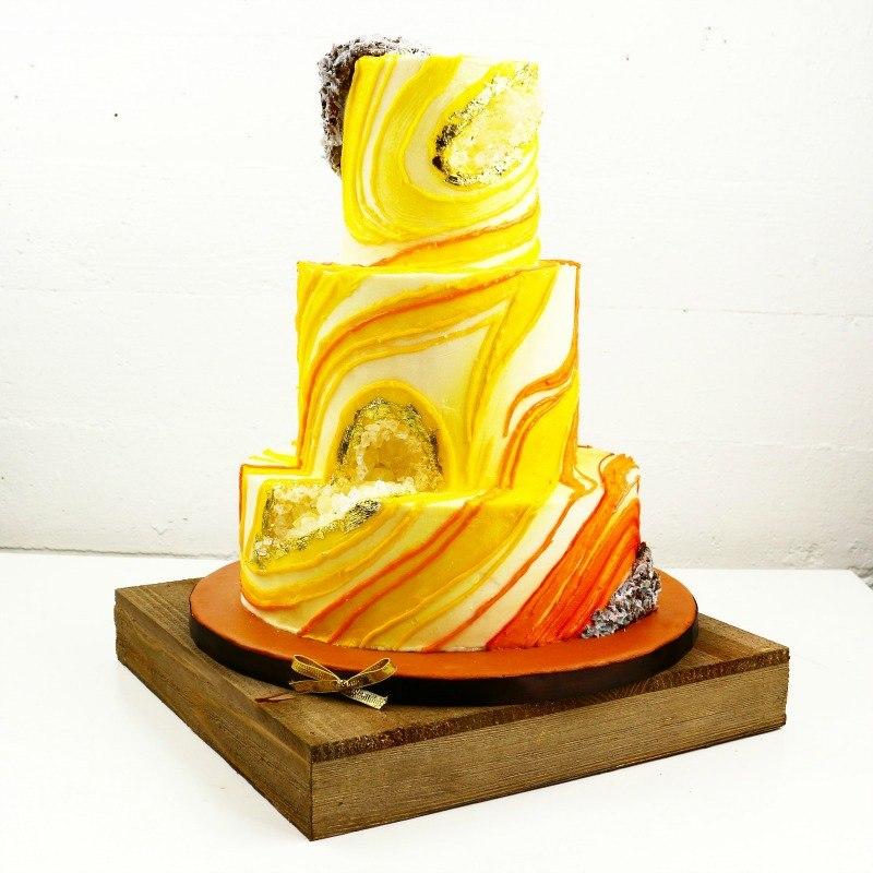 Yellow Buttercream Geode Cake