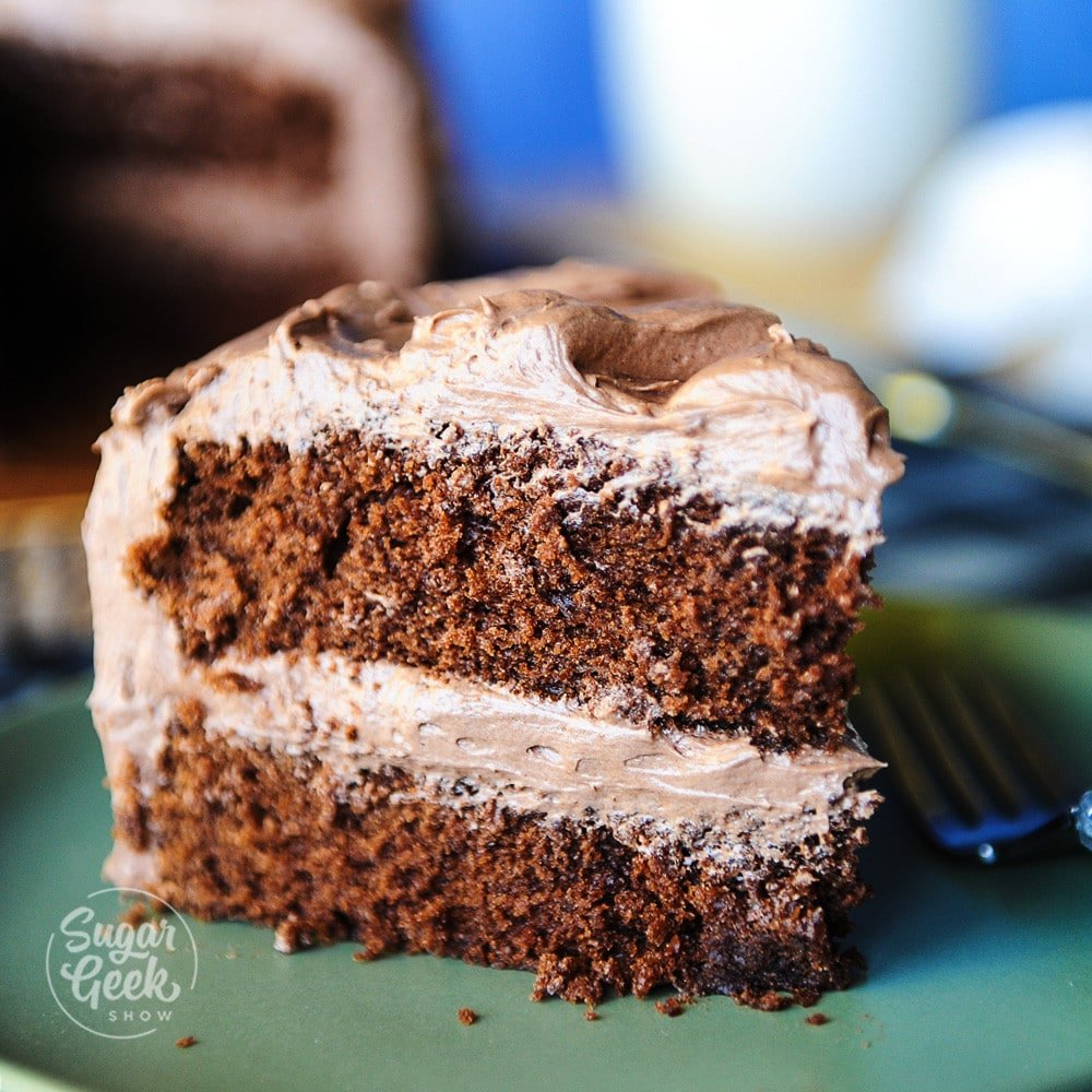 chocolate cake recipe made with dutched cocoa powder, lots of butter and mayonnaise! This cake is so moist and delicious, everyone will be asking for seconds