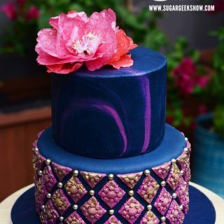 Navy Fuchsia Bas Relief Cake