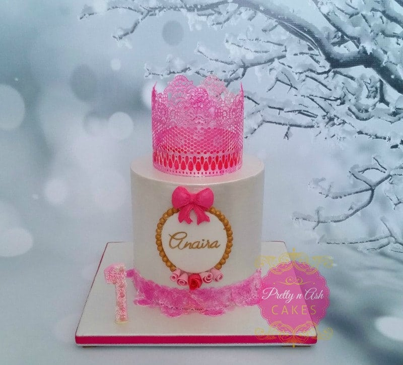 Edible Lace Crown Cake