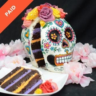 day of the dead dia de los muertos sugar skull with chocolate flowers cake tutorial