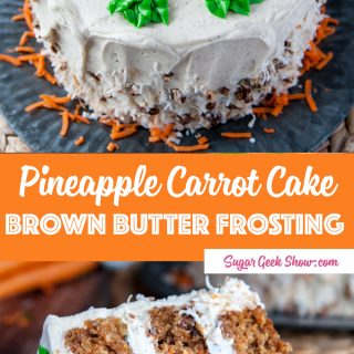 Chunky homestyle carrot cake with pineapple, candied pecans, coconut and lots of carrots! Frosted with tangy classic cream cheese frosting . My favorite cake to bake for my family!