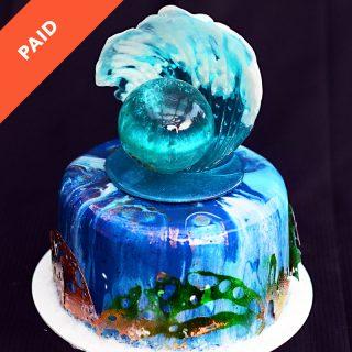 Mirror Glaze Ocean Wave Cake Tutorial