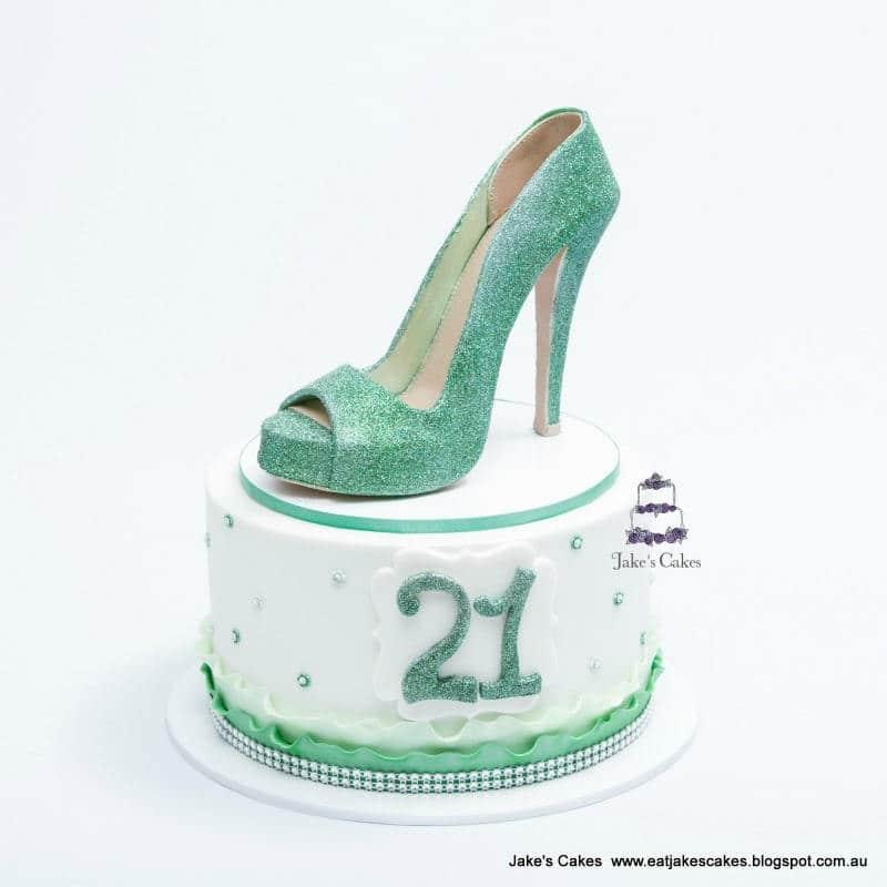 Green Glitter Shoe Cake