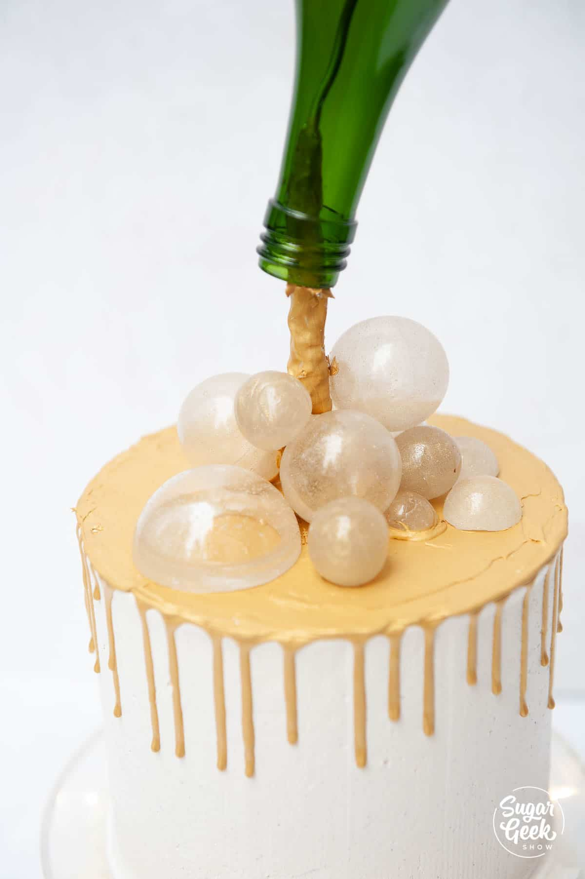 close up of sugar bubbles on a champagne cake