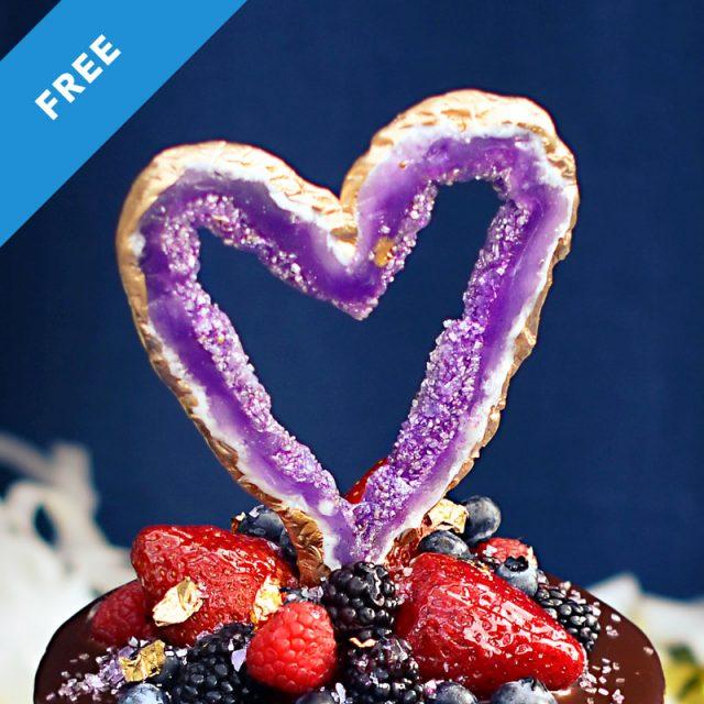 Geode heart shaped cake topper tutorial