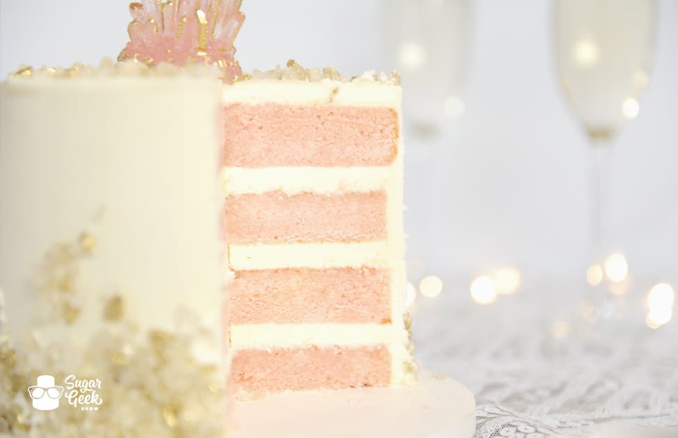 Wedding Cake Recipe.Pink Champagne Cake