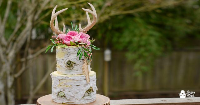 Boho Antler Birch Cake