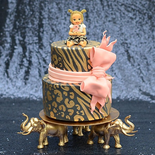 Golden Safari Birthday Cake