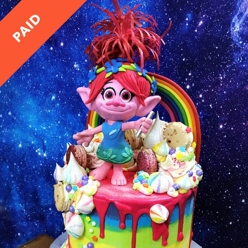 Rainbow Troll Cake Topper Sugar Geek Show