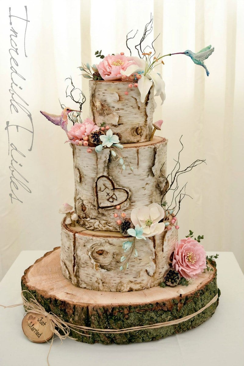 Rustic Birch Humminbird Wedding Cake