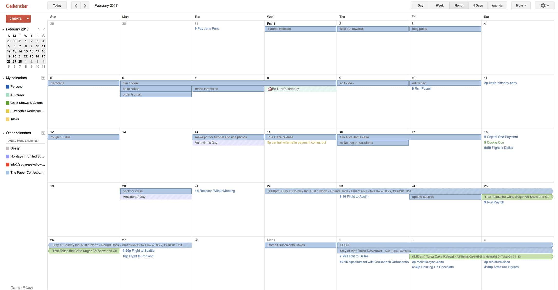 cake calendar example