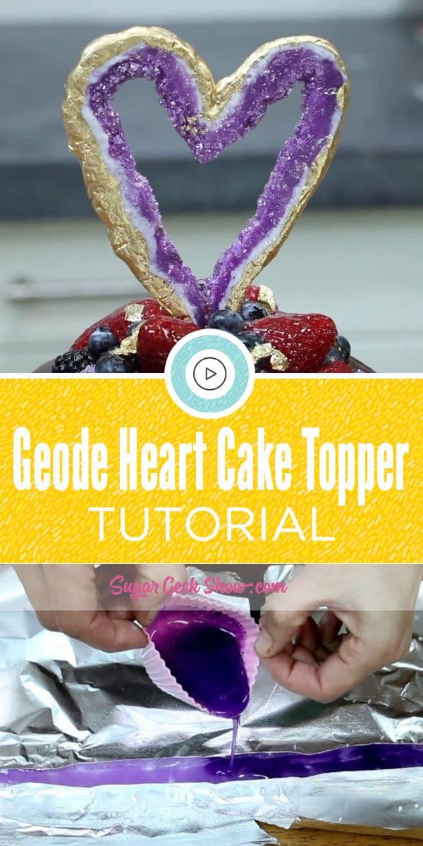 Geode Heart Cake TOpper