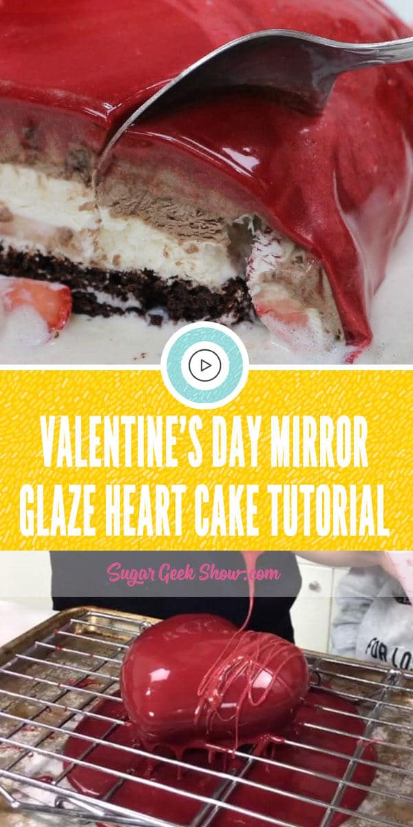 VALENTINE'S DAY MIRROR GLAZE HEART CAKE TUTORIAL