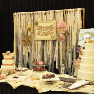 bridal show booth setup ideas ribbon backdrop