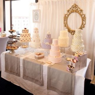 bridal show booth idea cake stands