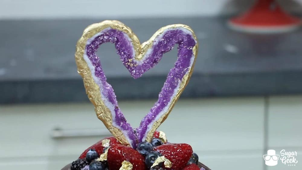 Edible Geode Heart Cake Topper