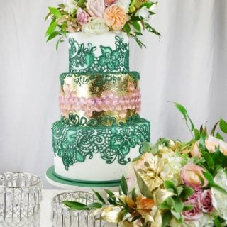 emerald and gold wedding cake