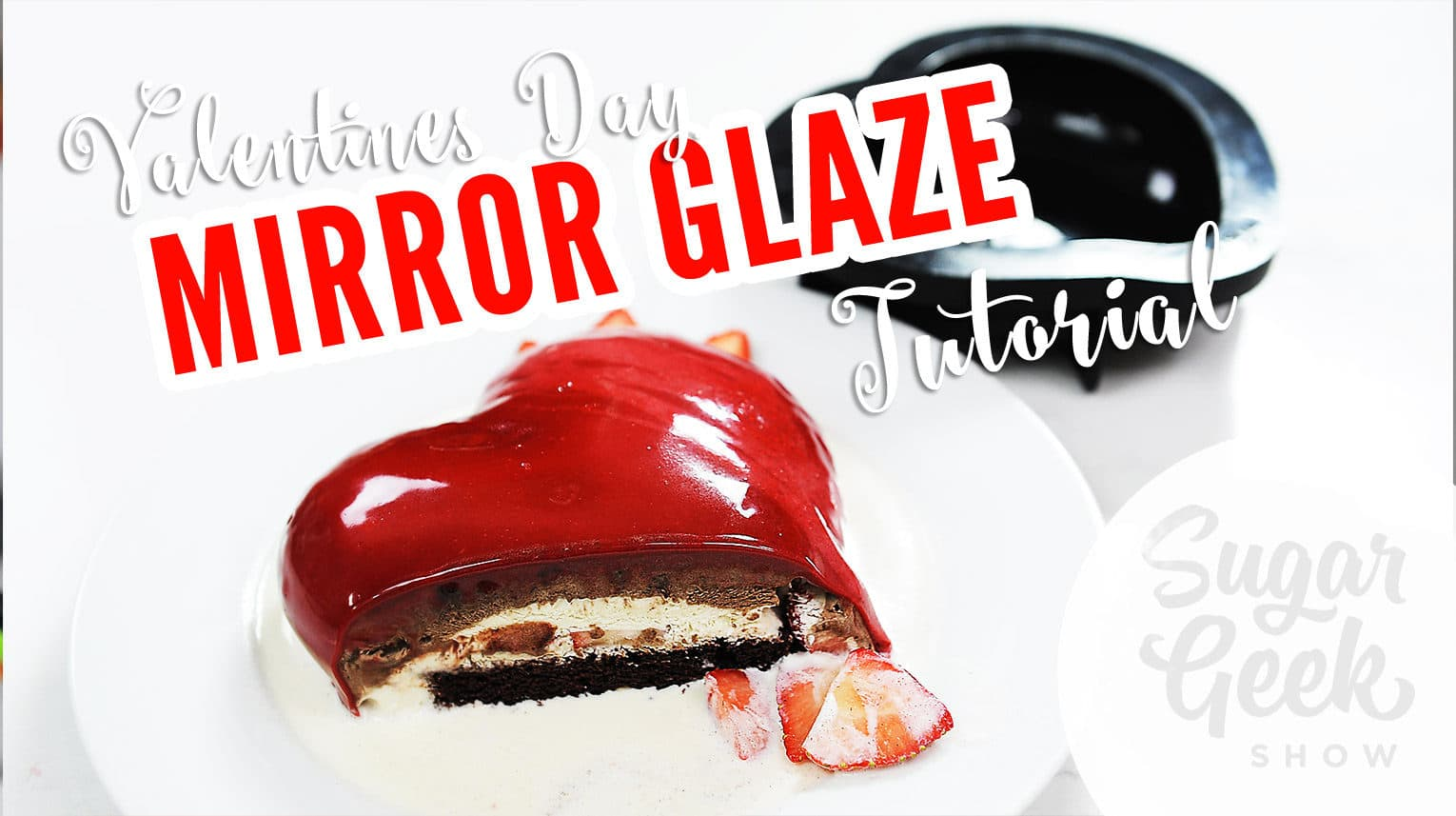 Learn how to make this mirror glaze heart cake, just in time for Valentine's Day! This delicious dessert packed with strawberries, candy bar bits, and a special Guinness beer cake is the perfect decadent candy for him or her this holiday. Learn the step-by-step instructions easily with Liz Marek as she works live (previously-recorded). Click through for full tutorial >>> sugargeekshow.com