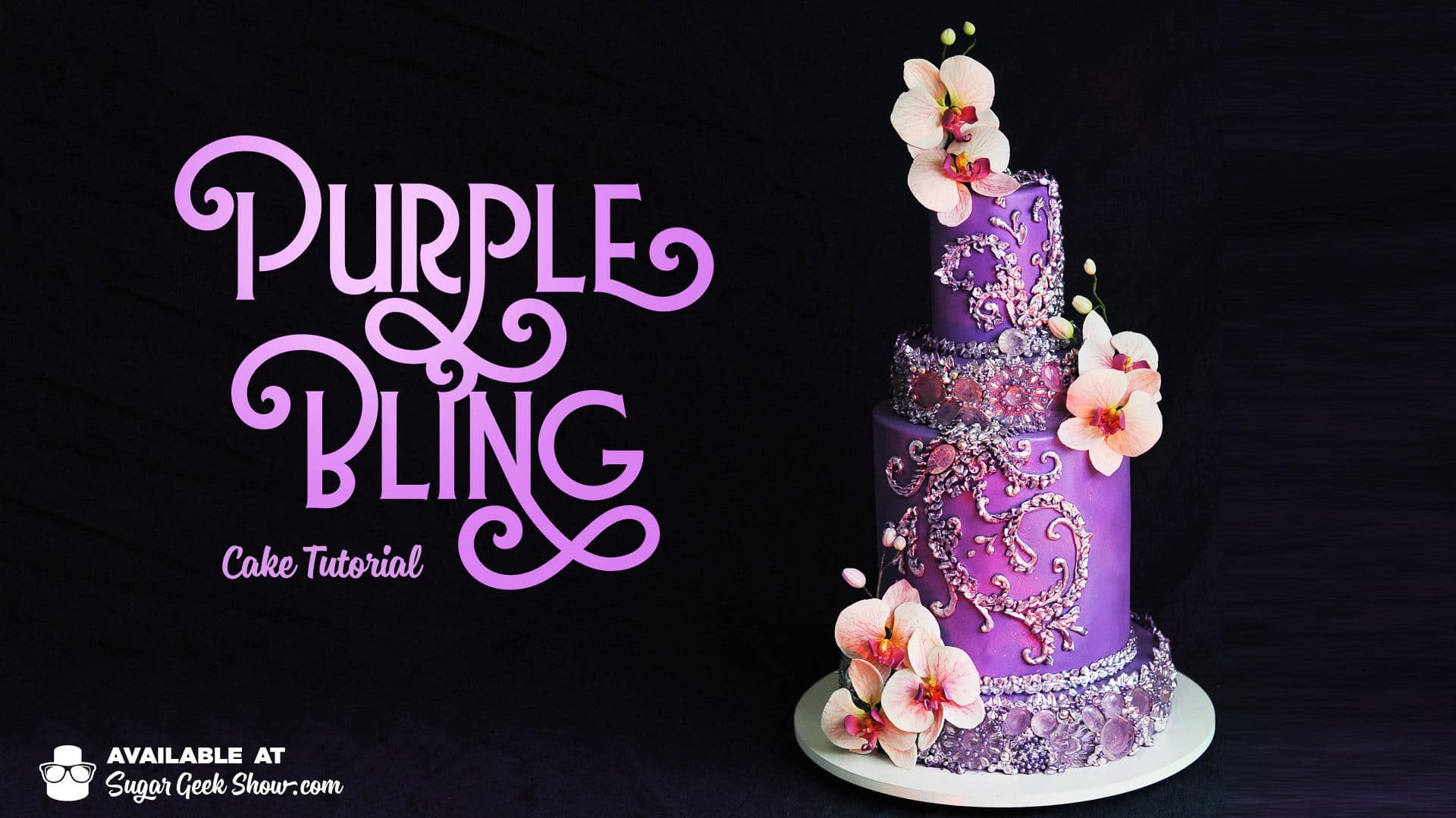 This is a re-make of one of my very early cakes in my career. Since then, it has been pinned, shared and re-posted thousands of times. I have always had a thing for shiny edible bling on cakes and get many requests on how to re-create these edible jewels. So here it is! How to make the purple bling cake complete with edible jewels and silver piping and gorgeous, life-like gumpaste orchids! Click through to learn the step-by-step process on srcset=
