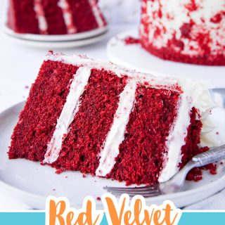 pinterest image for red velvet buttermilk cake
