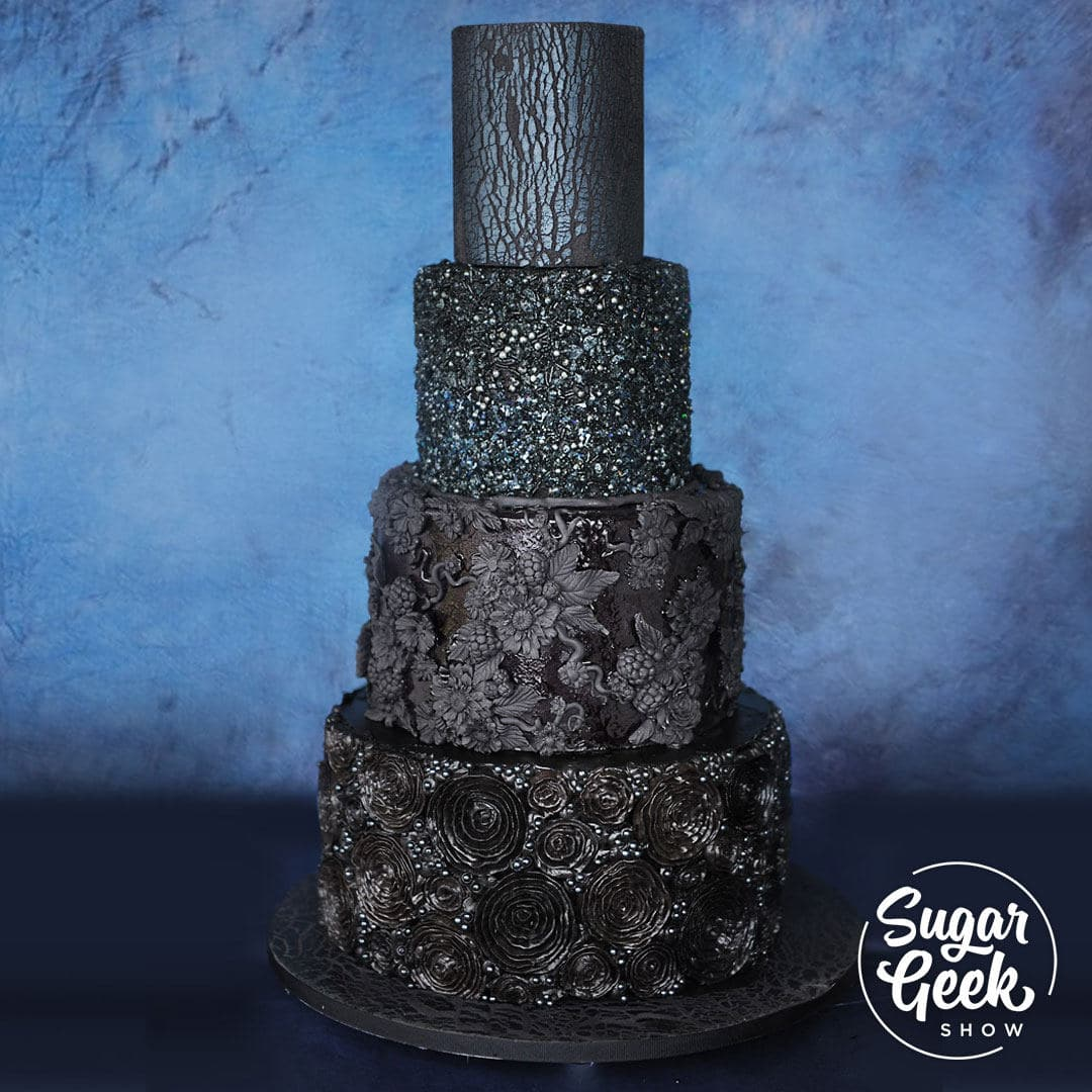 Haven't you heard? Black is the new black. Dark and moody wedding cakes are all the rage and sure to be a huge trend for 2018. Even if your bride doesn't want to go full-on black wedding cake, they might want to incorporate some into their design. This black wedding cake tutorial teaches you four stunning textures you can incorporate into your black wedding cake designs.