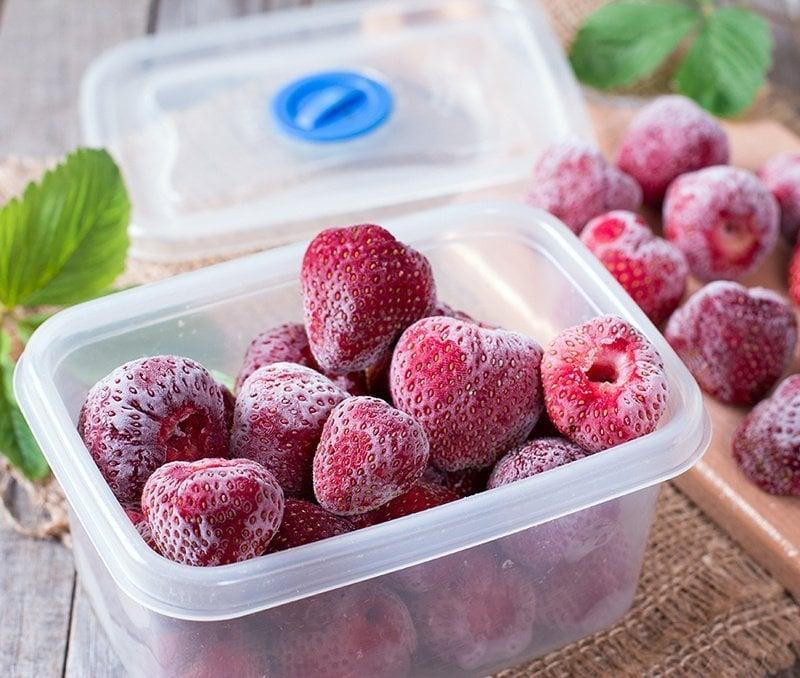 frozen strawberries in a box
