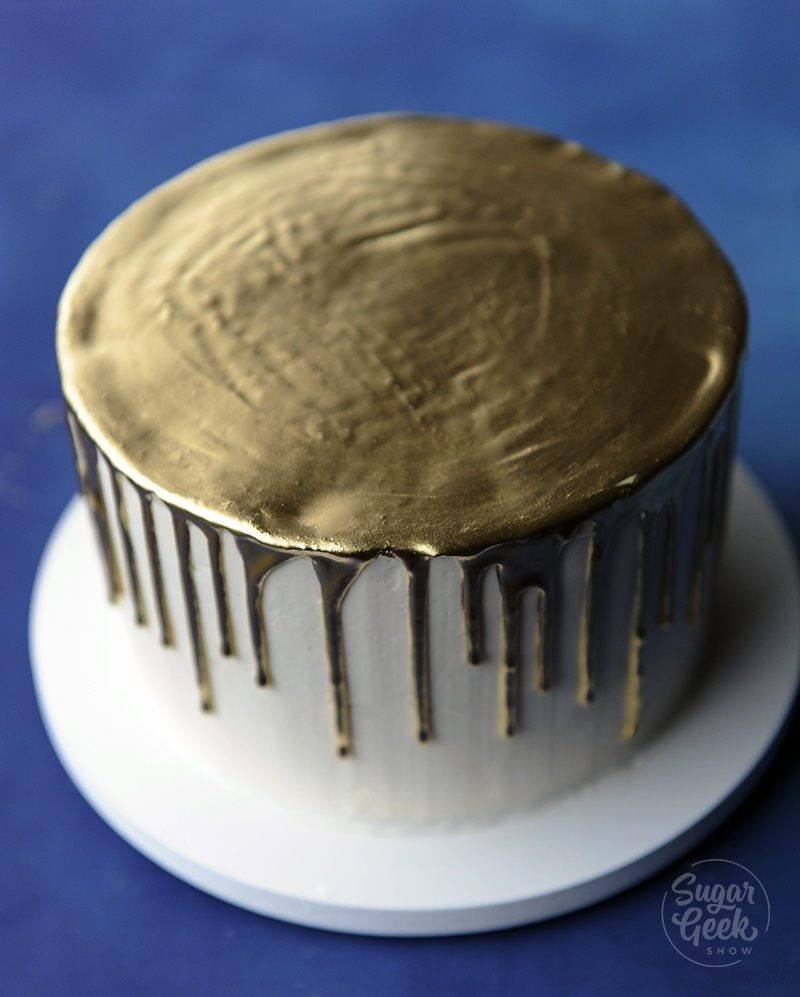 gold drip cake tutorial