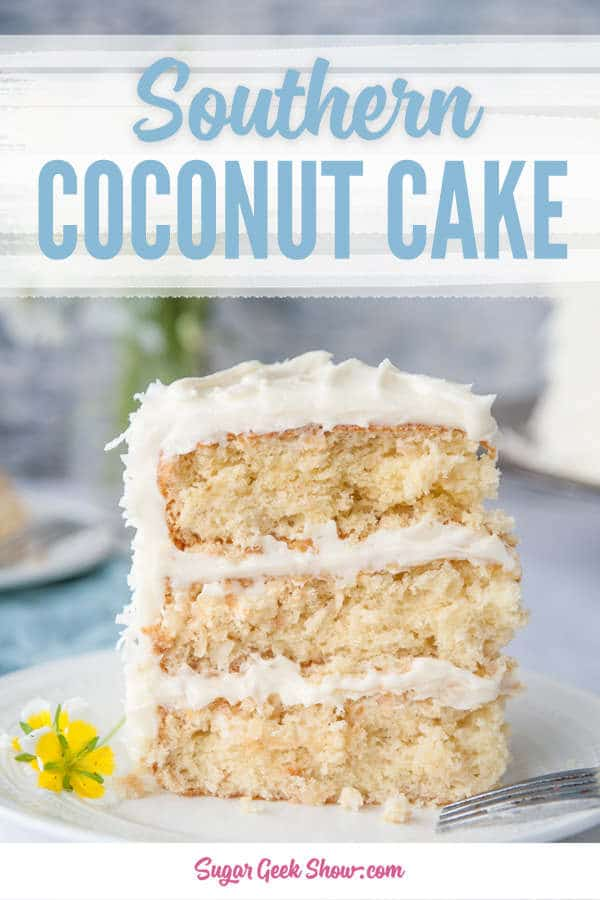 A southern coconut cake recipe made with light and fluffy toasted coconut cake layers and frosted with decadent coconut cream cheese frosting.