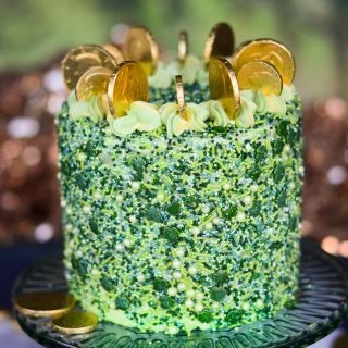 st patricks day cake made with green velvet cake