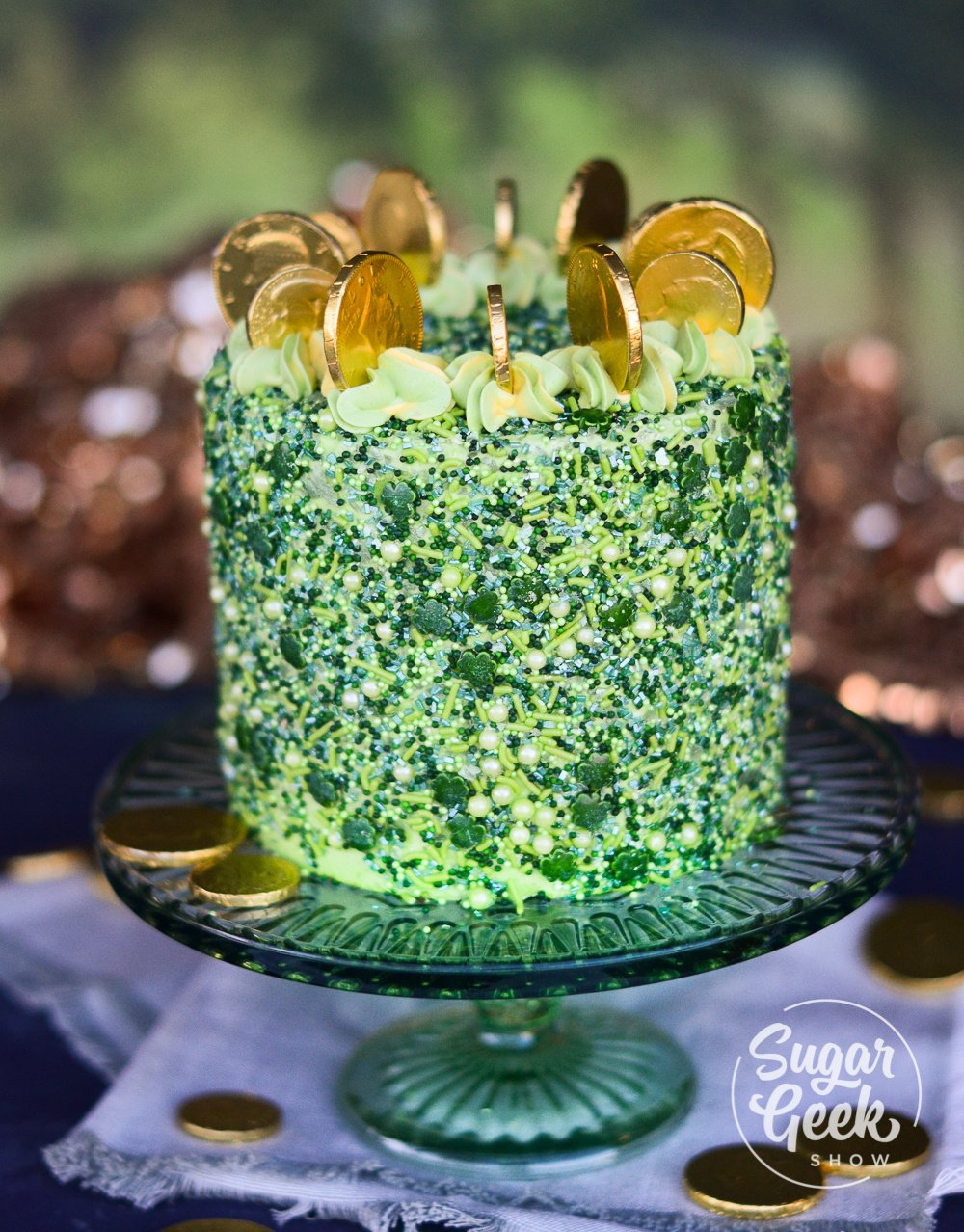 St. Patrick's day cake made with green velvet cake, custom sprinkles and your own edible glitter