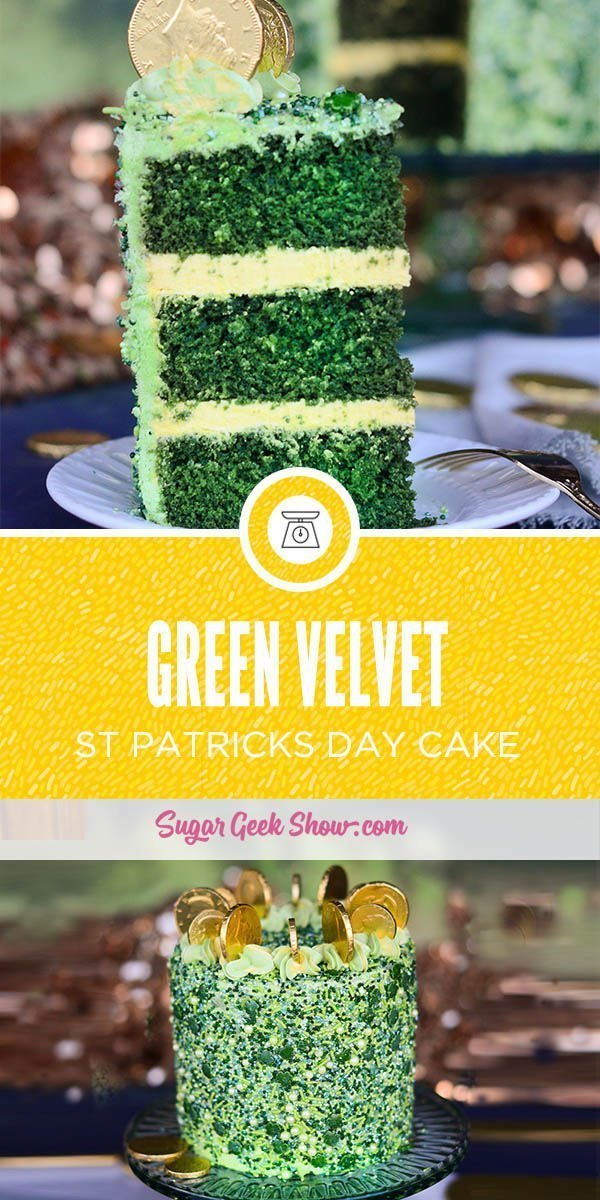 This St. Patrick's Day cake is made with a delicious green velvet cake and swiss meringue buttercream. My favorite part is the green sprinkles and the gold coins on top! The perfect, easy St. Patrick's Day cake idea!