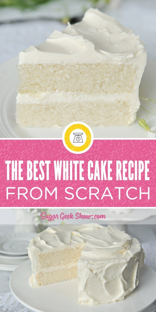 Seriously the best white cake recipe ever made from scratch and from simple ingredients you probably already have in your kitchen. This cake is so simple, I made it with my four year old daughter, Avalon (no my hands are not super tiny, those are my kids). This classic white cake recipe has a little oil to keep it super moist and has a delicious delicate crumb that melts in your mouth. You'll never need another white cake recipe!