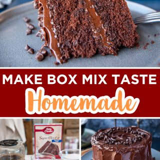 pinterest image for doctored chocolate box mix