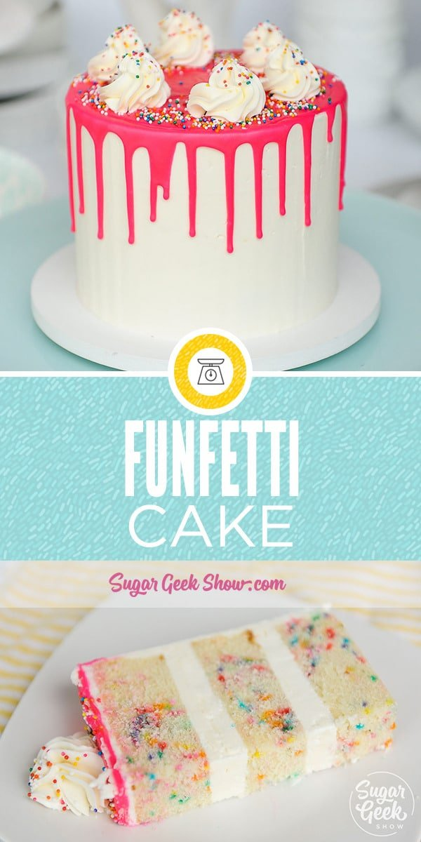 Funfetti cake is a delicious vanilla cake with brightly colored sprinkles mixed in. This tasty cake made from my scratch white cake recipe pairs perfectly with smooth and creamy easy buttercream and makes the perfect cake for a birthday celebration!