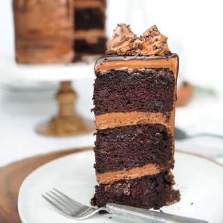 Death by chocolate cake with chocolate cream cheese frosting and a chocolate ganache drip