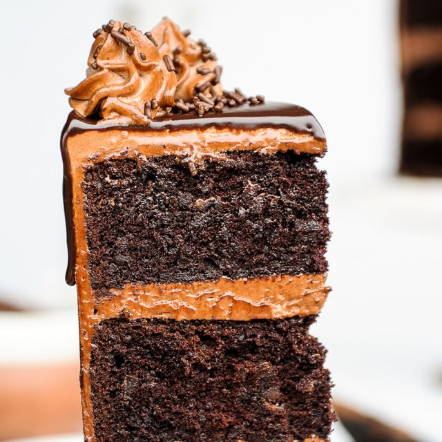 death by chocolate cake made from dark beer, lots of butter and mini chocolate chips. Topped with chocolate cream cheese frosting, this is a decadent cake not for the faint of heart