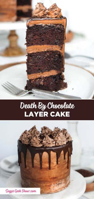 Death by chocolate cake made with layers of rich and moist chocolate cake with chocolate chunks, chocolate cream cheese frosting and a chocolate ganache drip