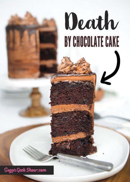 Chocolate cake with chocolate chunks layered with chocolate cream cheese frosting and a chocolate ganache drip
